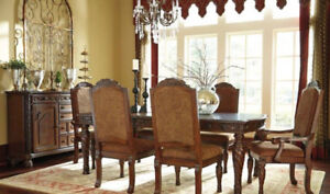 ASHLEY SOLID WOOD DINING TABLE SET SALE