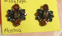 Boucles d'oreilles vintage pierreries roses bleues Austria #024
