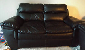 Bonded leather loveseat and chair
