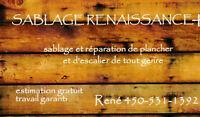 Sablage de Planchers et Escaliers (Bois Franc, Beton, Patio)