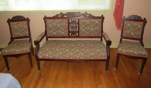 Antique Decorative Wood Loveseat and Matching Chair Set