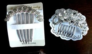 2 eye catching rhinestone hair combs for wedding / prom