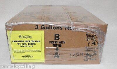3 Gal Bib Cranberry Juice For Wunderbar Soda Guns