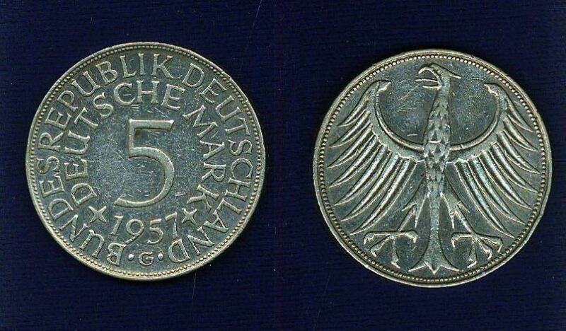 GERMANY    1957-G   5 MARKS SILVER  COIN  XF+, ONLY 566,000 MINTED!