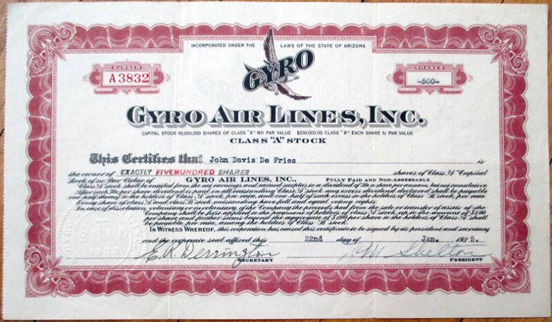 1935 Airline/Aviation Stock Certificate: Gyro Air Lines, Inc. - Arizona AZ