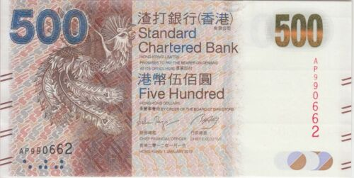 Hong Kong Banknote P300b new ser. 500 Dollars  SCB 1.1.2012 new series ,  UNC