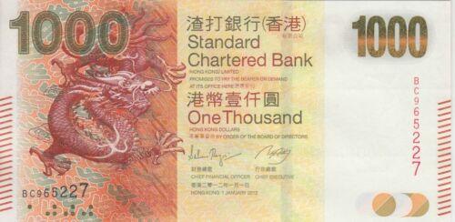 Hong Kong Banknote P301b 1,000 Dollars  SCB 1.1.2012,  new series, UNC
