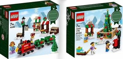 LEGO 40262 Christmas Holiday Train Ride & 40263 Town Square 2017 Brand New