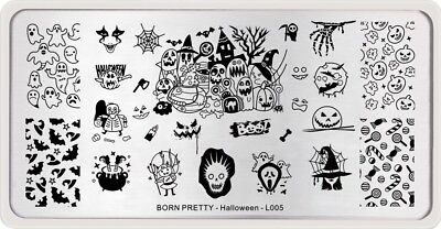 BORN PRETTY Nail Art Stamping Plates Pumpkin Witch Candy Halloween Day Design