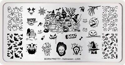 BORN PRETTY Nail Art Stamping Plates Pumpkin Witch Candy Halloween Day Design (Nail Art Design Halloween)