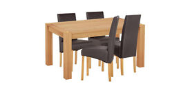 Home of Style Whipsnade Dining Table & 4 Leather Eff Chairs