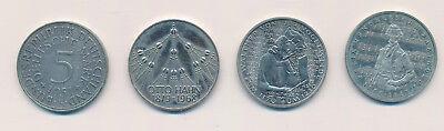 BRD 4 x 5 Mark Münzen 1951, Otto Hahn 1979, Vogelweide,Mendelsohn