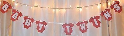 it's twins baby shower red/white hanging one piece banner (Twins Party Supplies)