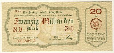 NOTGELD - Stadt SCHOPFHEIM - 20 MILLIARDEN MARK 22.10.1923 (394)