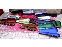 JOB LOT OF 18 X ANTIQUE & VINTAGE VIOLIN CASES FROM RECENT SALE AT A MUSIC COLLEGE