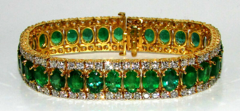 32ct Natural Vivid Green Emerald Diamond Bracelet G/vs Multirow+