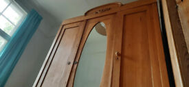 Vintage Antique Solid Pine Wardrobe - 3 doors and two drawers