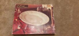 Platter - beautiful white embossed Italian platter in its box