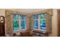 2 pairs of fully lined curtains £20 per pair. Pelmets and curtain rails included if wanted.