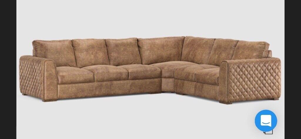 Mazzini Utah Tan Leather Sofa For