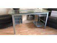 Large glass topped desk with various storage trays 150cm x 70cm