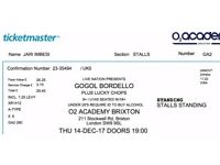Selling GOGOL BORDELLO TICKETS London Concert O2 Brixton, 14/12