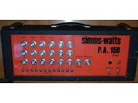 Simms Watts Super P.A. 150 200w KT88 PA valve amplifier tube amp guitar bass UL