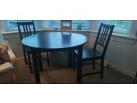 *SOLD* Ikea Round Dining Table in Black (and two free chairs)
