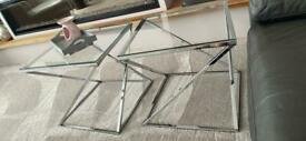 2 x chrome and glass side tables
