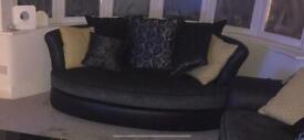 3 seater sofa, cuddle sofa and footstool