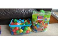 Mega bloks and a bag of balls
