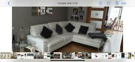 Italian white leather corner sofa, mint condition £300