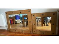 Set of 2 heavy wooden mirrors