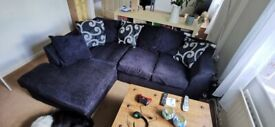 Dark Blue Left Handed Corner Sofa