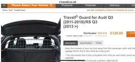 TRAVALL DOG GUARD FOR AUDI Q3 (2011-2018) / RS Q3 (2013>)