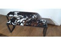 Bespoke cowhide covered steel bench