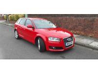 2010(10)AUDI A3 SPORT 1.6 TDi BRIGHT RED,NEW MOT,FSH,£20 TAX,CLEAN CAR