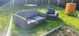 Grey Two seater & one seater chair sofa set