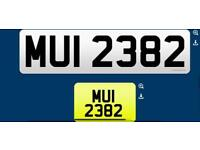 MUI 2382 private cherished personalised personal registration plate number fee included