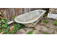 Original Edwardian Vintage roll top Cast Iron Bath and Globe Taps