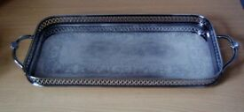 VINTAGE CAVALIER SILVER PLATED CHASED GALLERY TRAY