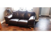 2x brown leather sofa and chair