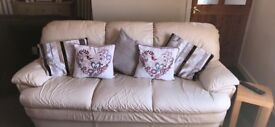 Harveys 3 seater and 2 seater cream leather sofas