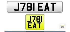 J781 EAT private delivery driver plate cherished personalised personal registration plate number