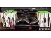 Xbox 360 + 2 controllers + kinect + plenty games