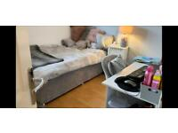 Single bed & headboard grey velvet effect with good sized storage drawers
