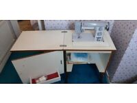 Electric sewing machine and table