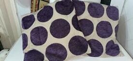 Pair of sofa cushions cream & purple design