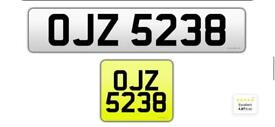 OJZ 5238 private cherished personalised personal registration plate