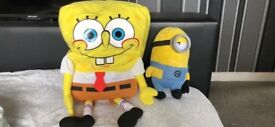 Sponge bob and minion plushie